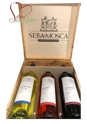 Cassetta legno 3 bottiglie - Sella&Mosca