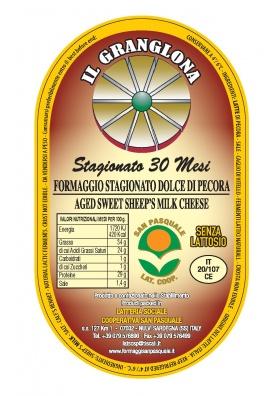 Aged sweet sheep's milk cheese Granglona 1/4 - Cooperativa San Pasquale