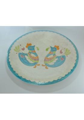 Piatto tondo in ceramica sarda. Kerapinta Nuoro