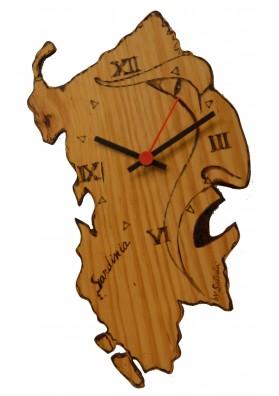 Orologio in legno Sardegna con il profilo del Mamuthone - Artigianato sardo Satodà